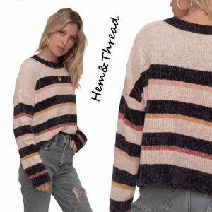 Hem & Thread Chunky Striped Chenille Knit Sweater
